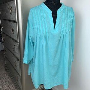 Lane Bryant 22/24 100% Cotton Oversize Blue Tunic